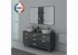 Meuble Salle De Bain Asymétrique : meuble de salle de bain double vasque gris dis911gt ~ Nature-et-papiers.com Idées de Décoration