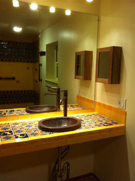 bathroom copper sink   mexican tile vanity top mexican