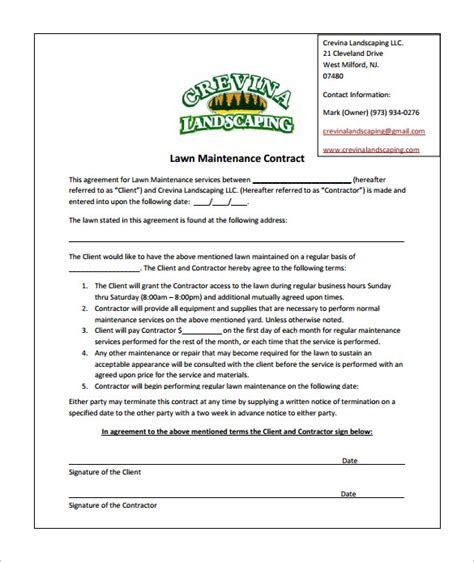 landscape contracts forms 9 lawn service contract templates free word pdf