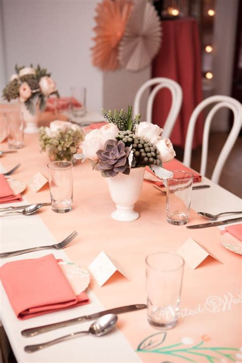 inspired   peach pink  mint bridal shower