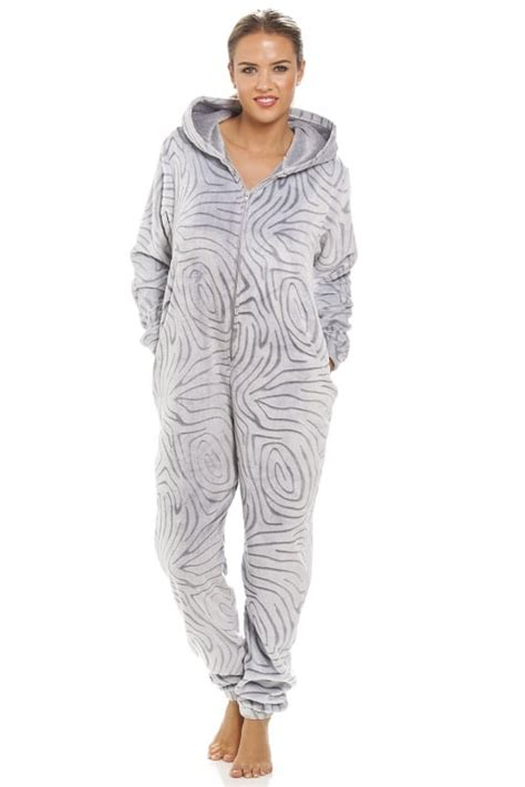 robe de chambre polaire fermeture eclair grey supersoft fleece zebra print hooded onesie