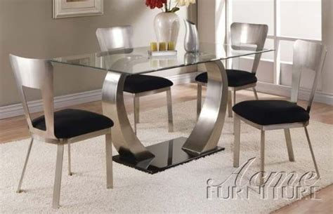 Dining Table with Glass Top and Metal Base in Chrome