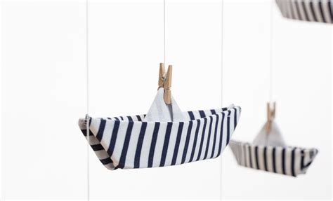 Origami Boat Mobile by Boat Fabric Origami Mobile Nursery Decoration Baby