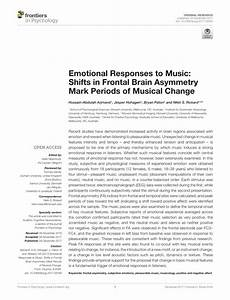 Pdf  Emotional Responses To Music  Shifts In Frontal