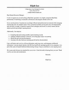 best data entry cover letter examples livecareer With cover letter for emergency management position