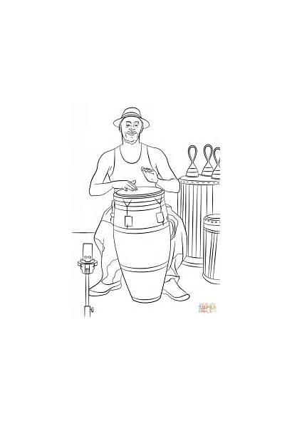 Conga Colorear Tocando Trommler Drummer Coloring Dibujo