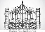 Gate Iron Clipart Wrought Gates Clip Garden Designs Fence Illustration Entrance Coloring Royalty Rf Driveway Metal Bestvector Vector Front Antique sketch template