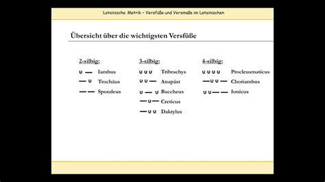 lateinische verse skandieren versfuesse metrum und