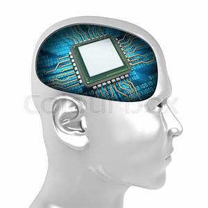 3d Illustration Of Microchip Inside Man Head Over White