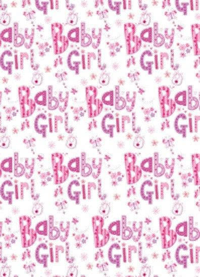 baby girl gift wrapping paper  sheet matching tag