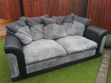 Grey Corduroy Sofa by Bargain 3 2 Seater Chunky Corduroy Black Grey Sofa