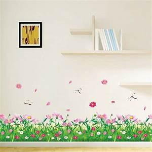 beautiful pink flower green grass with butterflies wall With beautiful pink and green wall decals