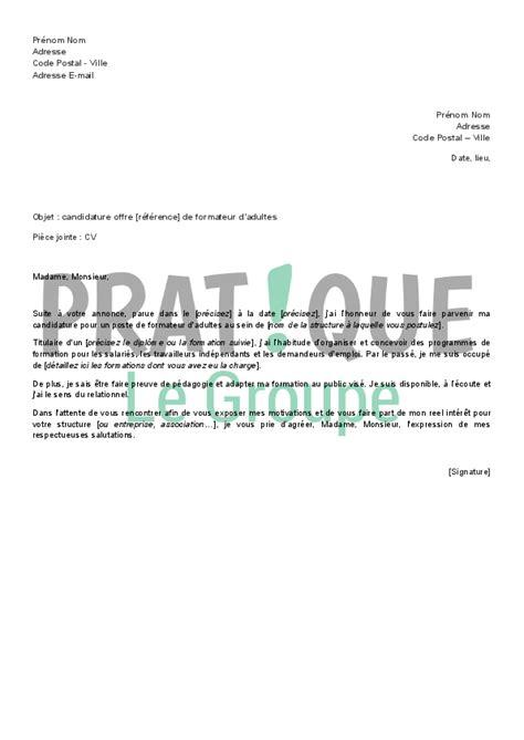 emploi formateur cuisine lettre de candidature en réponse à une offre d 39 emploi de