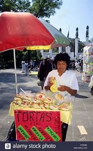 A street vendor selling tortas and tacos in Chapultepec ...