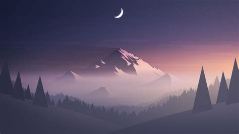 Download Mountains Moon Trees Minimal 480x854 Resolution
