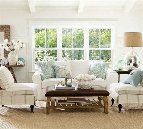 Pottery Barn Living Room by Nautical Blue Green White Beige Brown Living Room Pottery