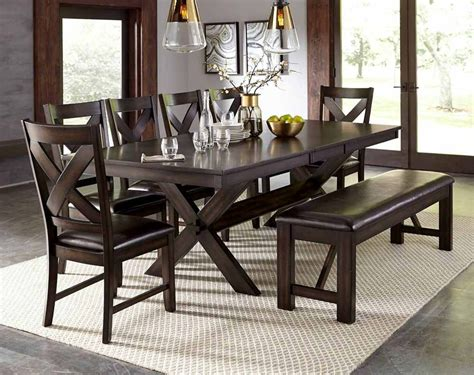 Dark Brown Elegant Piece Dining Set With Bench