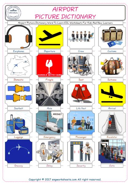 airport esl printable english vocabulary worksheets