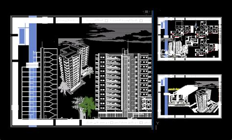 story residential building dwg section  autocad