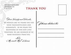 wedding thank you card wording sample
