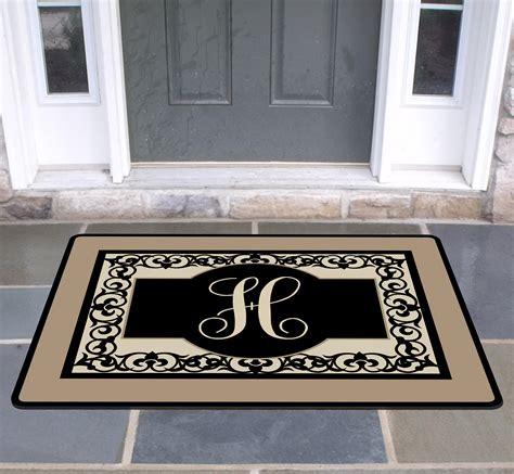 Monogrammed Doormat by New Home Gift Flourish Family Front Door Mat