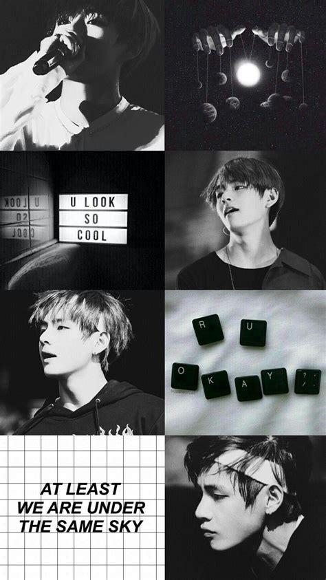 taehyung black and white aesthetic wallpapers
