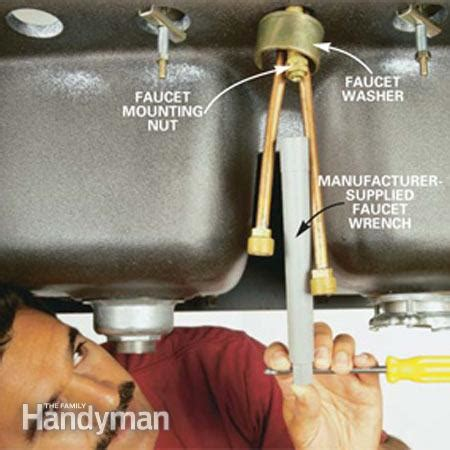 removing faucet from kitchen sink how to replace a kitchen faucet the family handyman