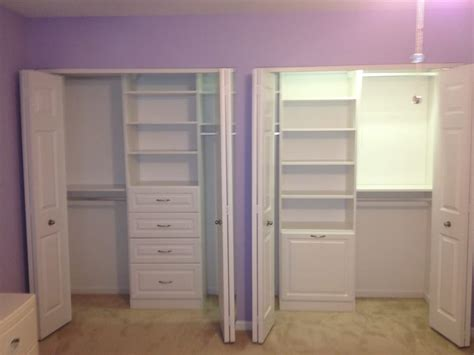 drawers in closet white reach in closet with raised panel drawers and her
