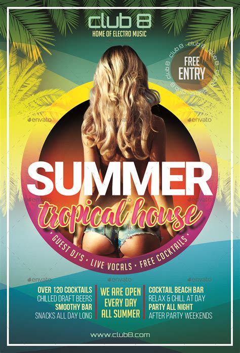 summer tropical house flyer template  designroom