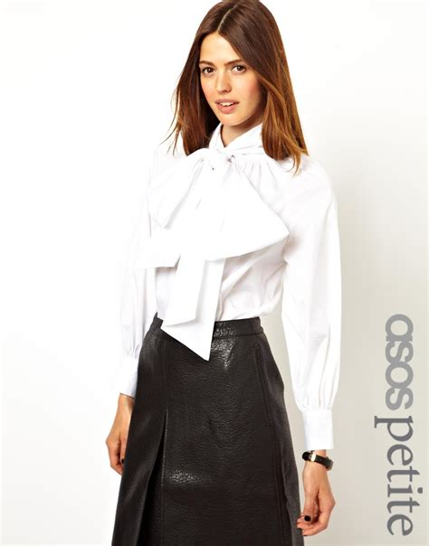white blouse with bow asos exclusive exaggerated bow blouse in white lyst