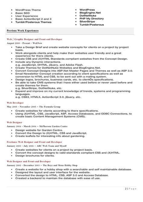 Php Developer Resume Doc by Click Here To My Cv In Word Format Doc