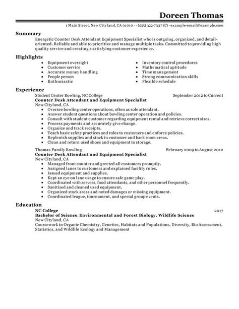counter desk attendant equipment specialist resume sle