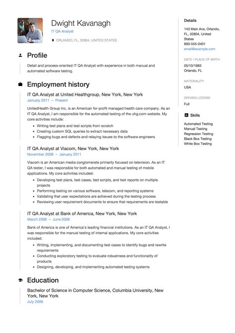 guide  qa analyst resume  samples examples
