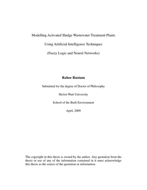 (PDF) Modelling activated sludge wastewater treatment