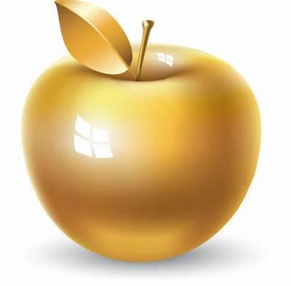Apple Golden Clip Vector Illustrations Graphics