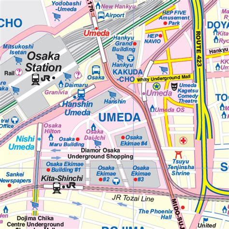 osaka western japan travel reference map