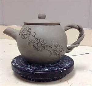 Hand built ceramic Tea Pot, still drying. High School ...