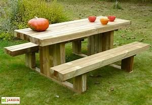 Table Jardin En Bois : table de pique nique en bois autoclave 180 cm 90 mm moderne solid ~ Dode.kayakingforconservation.com Idées de Décoration