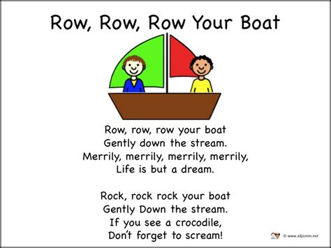 Row Row Row Your Boat Lyrics And Actions by Alljoinin Net Song Words For Song Box