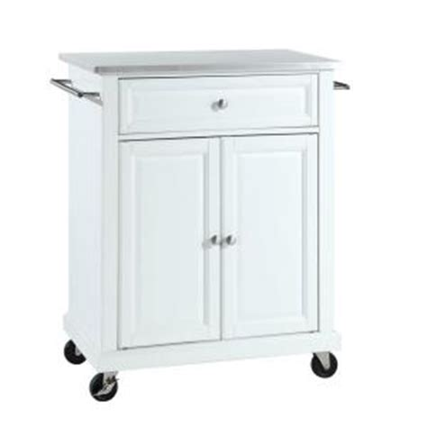 stainless steel kitchen island home depot crosley 28 1 4 in w stainless steel top mobile island 9399