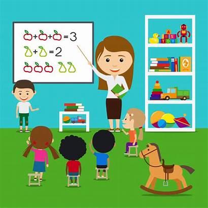 Teacher Clipart Teaching Preschool Classroom Vector Kindergarten