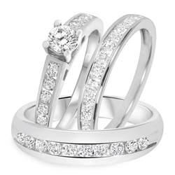 trio wedding sets 1 1 2 ct t w trio matching wedding ring set 14k white gold my trio rings bt505w14k