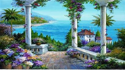Sea Backgrounds Painting Flower Wall Columns Background