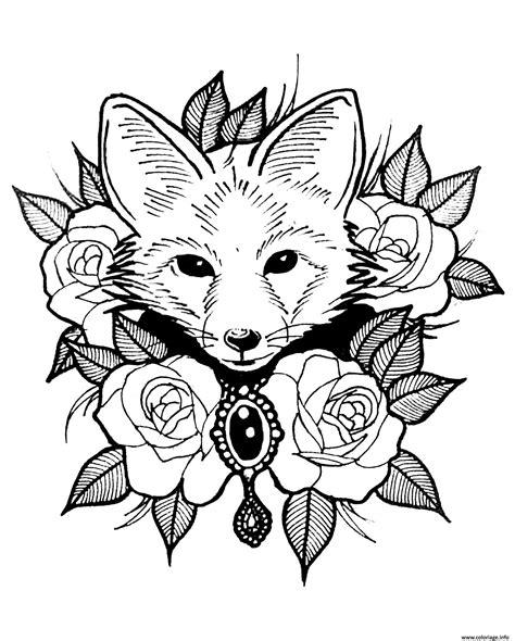 coloriage renard  roses style tatouage dessin