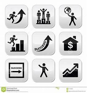 Success In Business  Self Development Buttons Set Stock