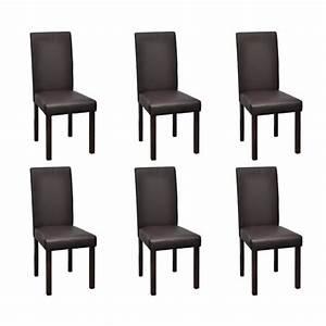 Chaises Originales Salle A Manger : lot de 6 chaises de salle manger simili cuir marron ~ Teatrodelosmanantiales.com Idées de Décoration