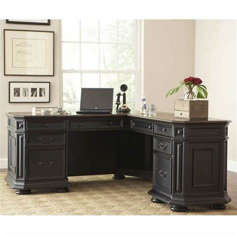 black l shaped office desk riverside furniture allegro l shaped computer desk in