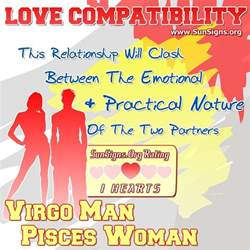 virgo man and pisces woman love compatibility sun signs