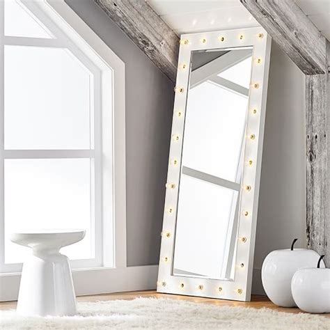floor mirror with led lights marquee light mirrors pbteen