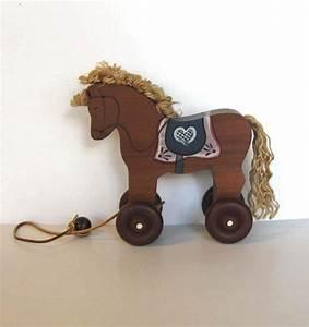 Wooden Horse pull toy, Vintage Toy, Primitive Folk Art